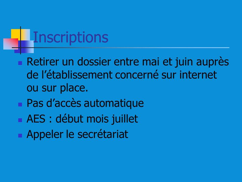 Inscriptions Retirer un dossier entre mai et juin auprès de l'établissement concerné sur internet ou sur place.