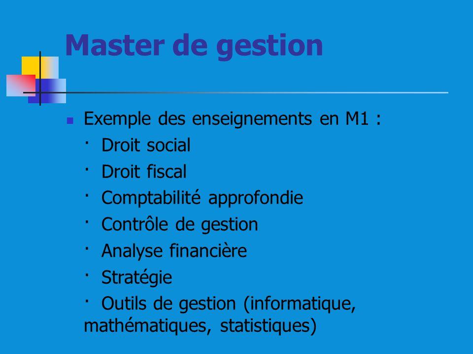 Master de gestion Exemple des enseignements en M1 : · Droit social
