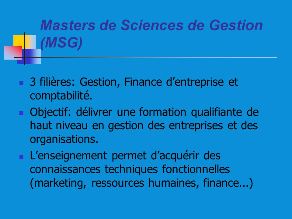 Masters de Sciences de Gestion (MSG)