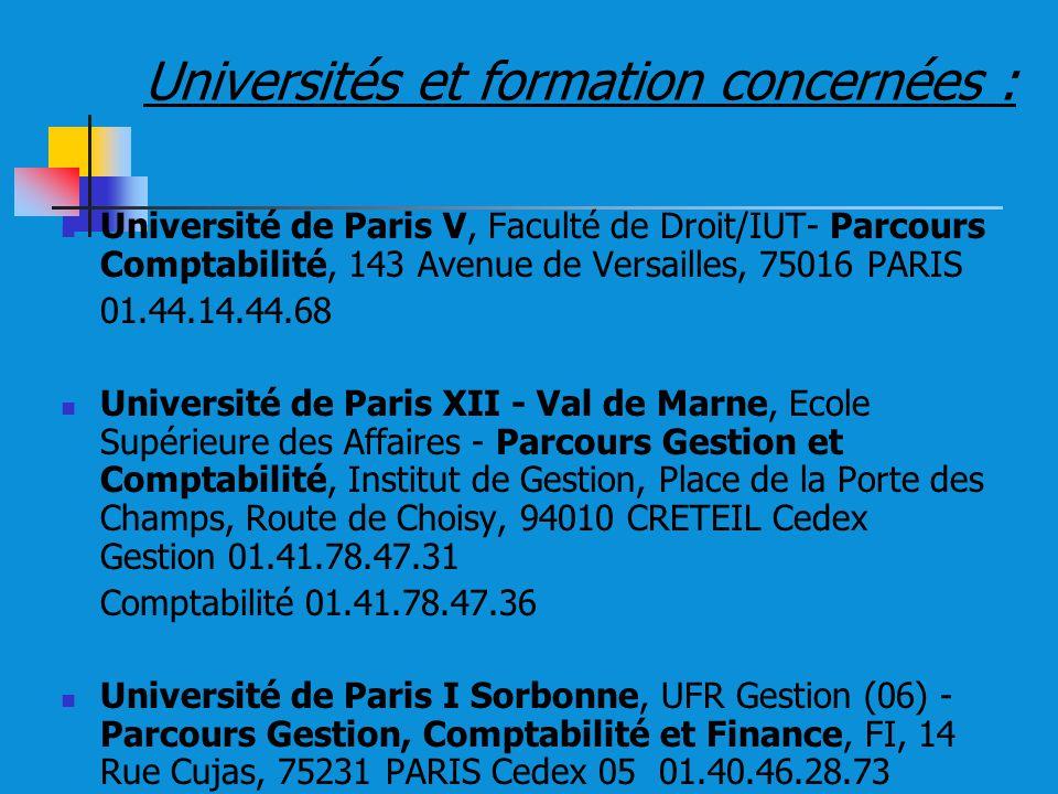 Universités et formation concernées :