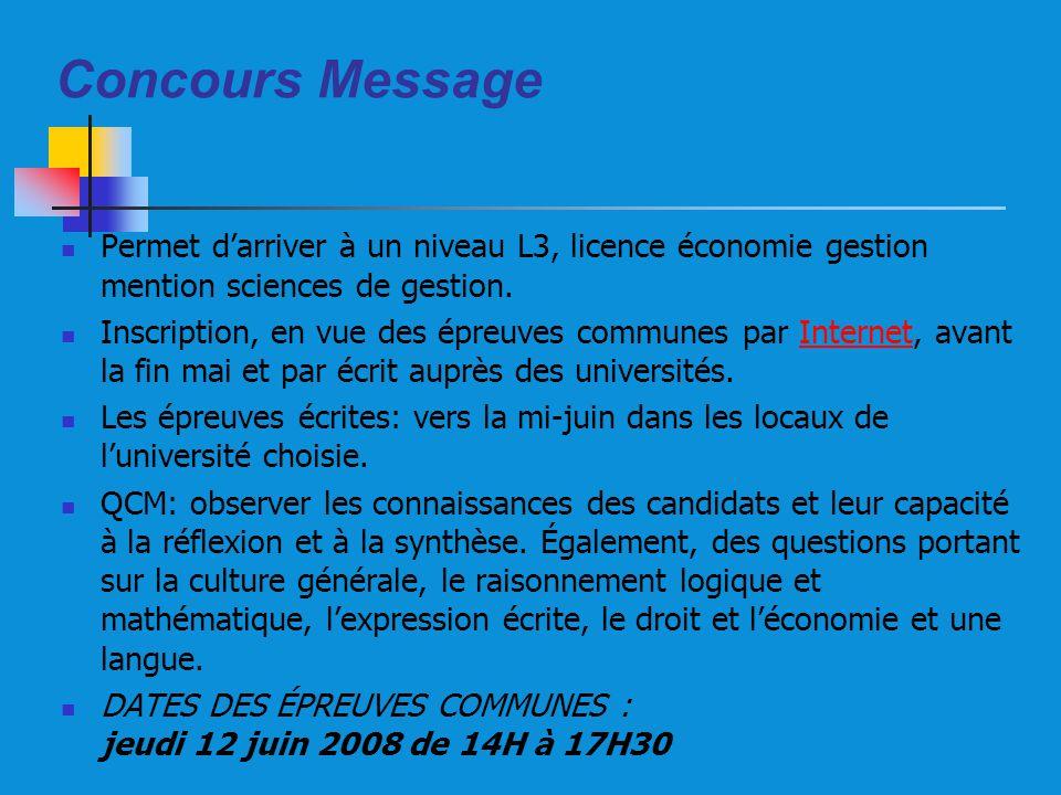 Concours Message Permet d'arriver à un niveau L3, licence économie gestion mention sciences de gestion.