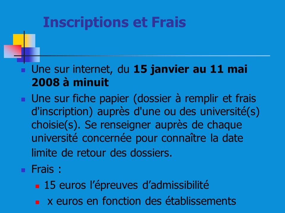 Inscriptions et Frais Une sur internet, du 15 janvier au 11 mai 2008 à minuit.