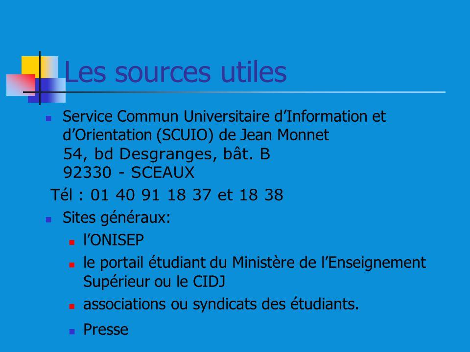Les sources utiles Service Commun Universitaire d'Information et d'Orientation (SCUIO) de Jean Monnet 54, bd Desgranges, bât. B 92330 - SCEAUX.