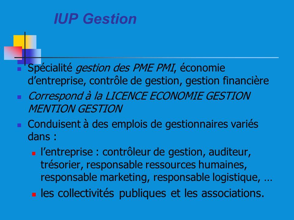 IUP Gestion les collectivités publiques et les associations.