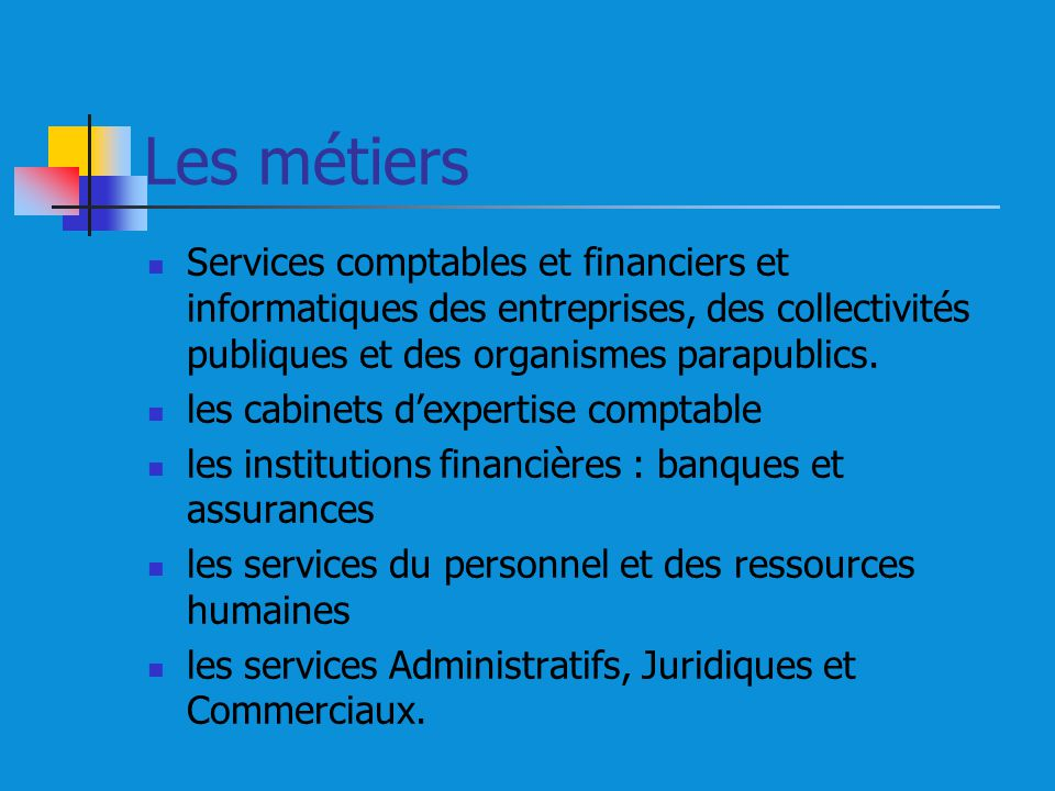 Les métiers Services comptables et financiers et informatiques des entreprises, des collectivités publiques et des organismes parapublics.