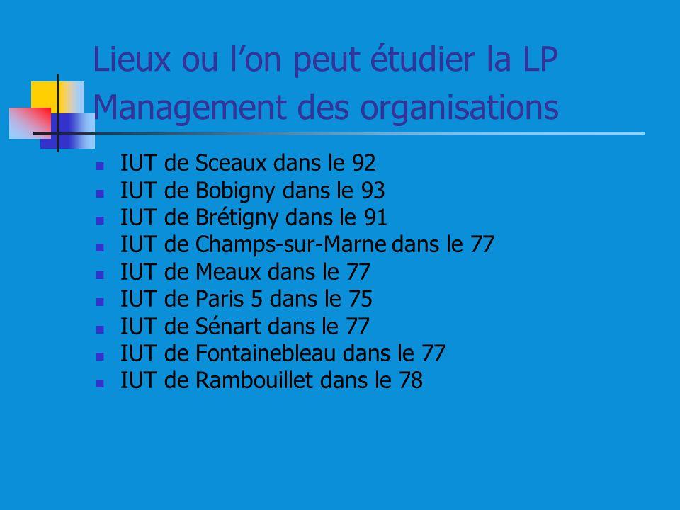 Lieux ou l'on peut étudier la LP Management des organisations