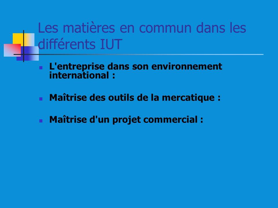 Les matières en commun dans les différents IUT