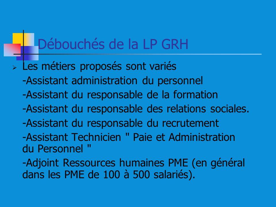 Débouchés de la LP GRH Les métiers proposés sont variés