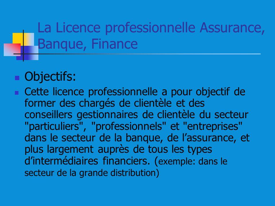 La Licence professionnelle Assurance, Banque, Finance