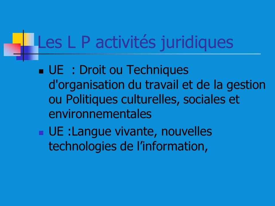 Les L P activités juridiques