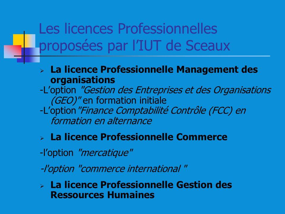 Les licences Professionnelles proposées par l'IUT de Sceaux