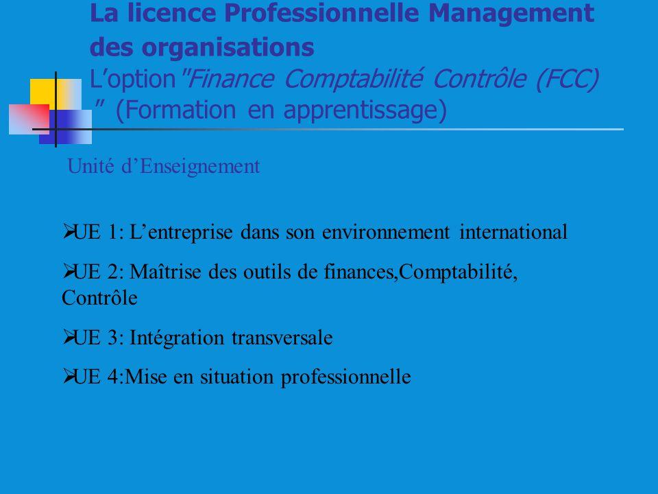 La licence Professionnelle Management des organisations L'option Finance Comptabilité Contrôle (FCC) (Formation en apprentissage)