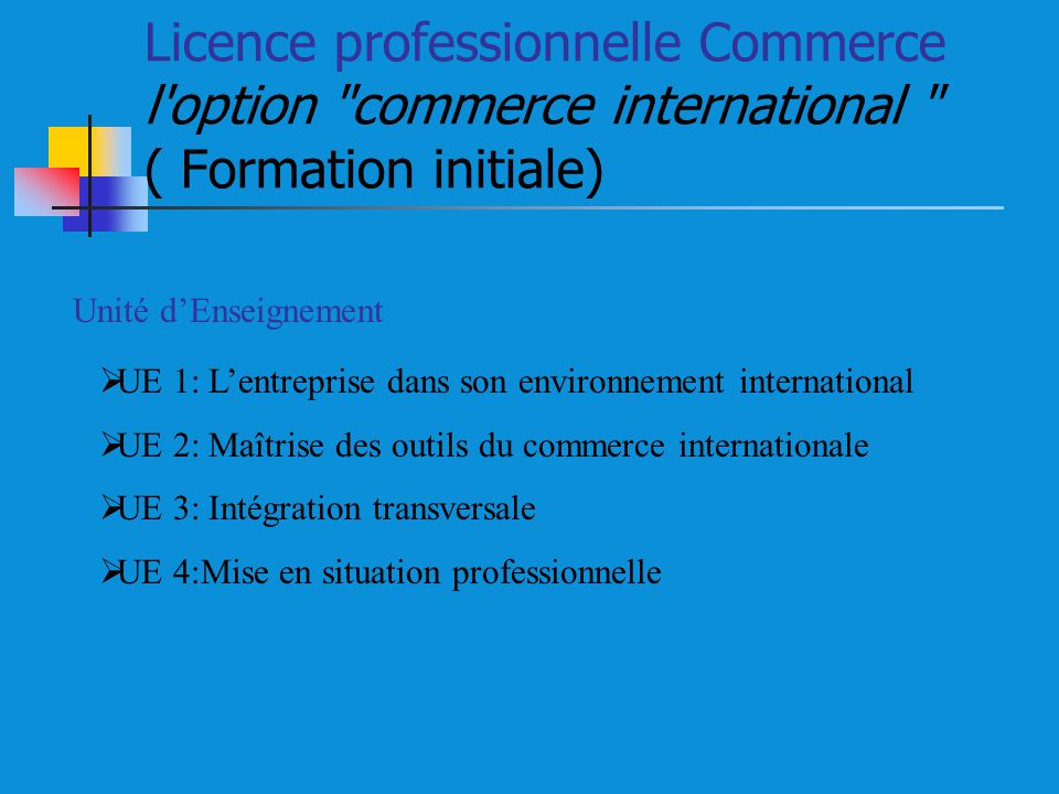 Licence professionnelle Commerce l option commerce international ( Formation initiale)