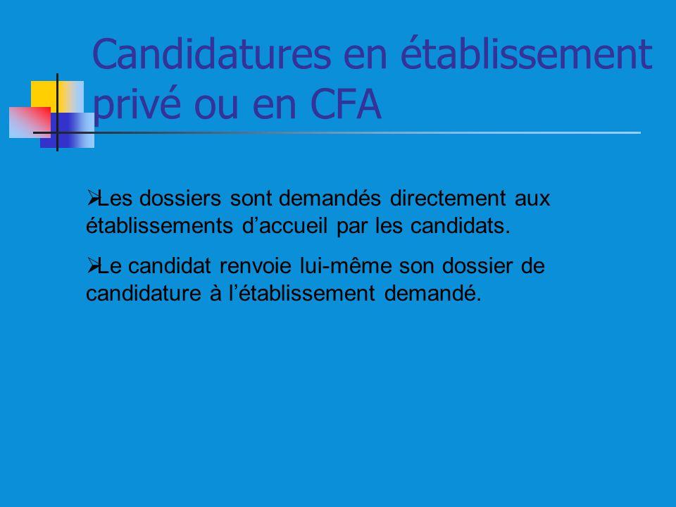 Candidatures en établissement privé ou en CFA