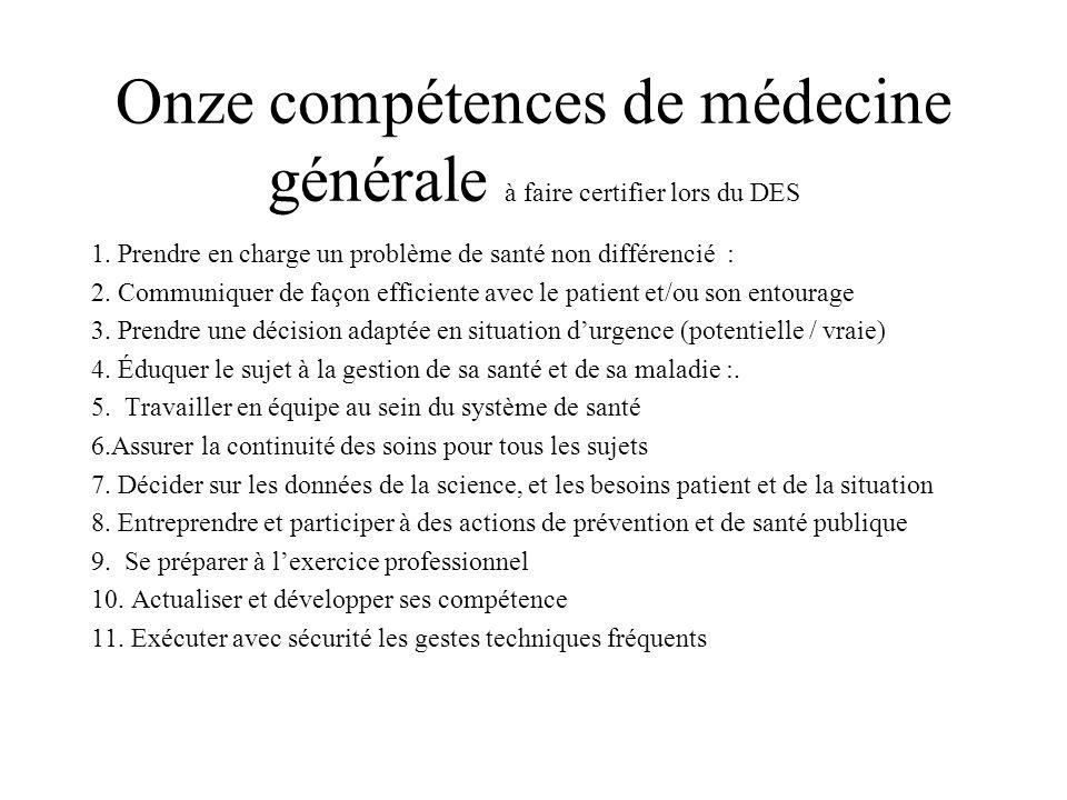 Onze compétences de médecine générale à faire certifier lors du DES