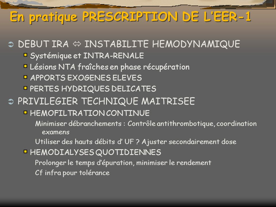 En pratique PRESCRIPTION DE L'EER-1