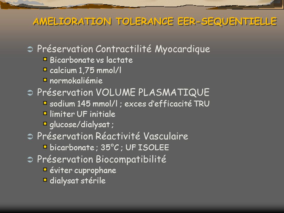 AMELIORATION TOLERANCE EER-SEQUENTIELLE