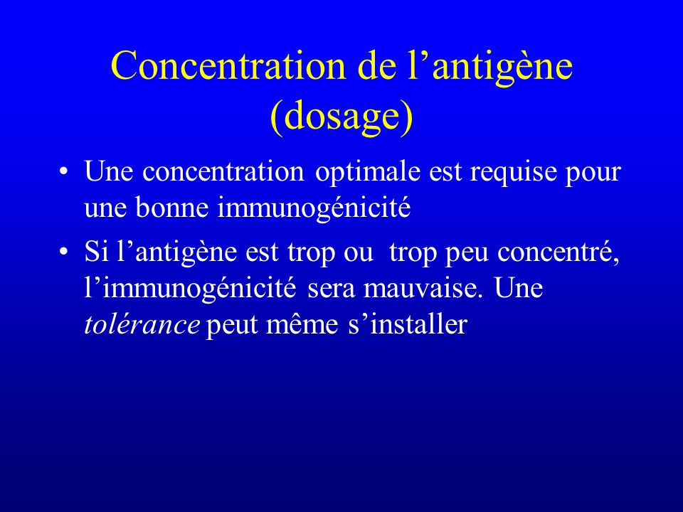 Concentration de l'antigène (dosage)