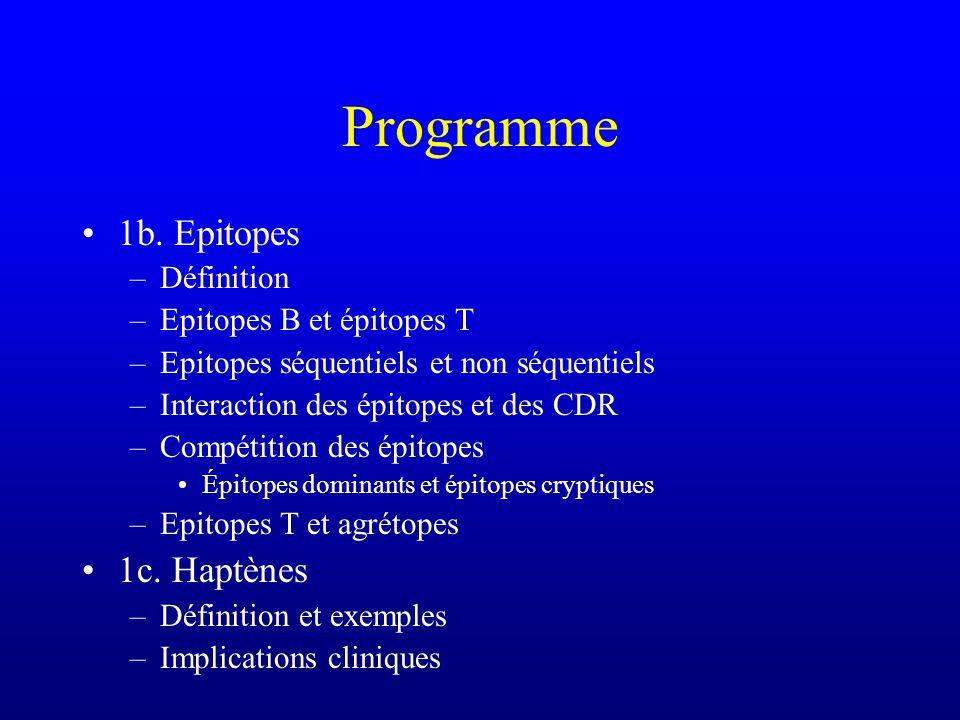 Programme 1b. Epitopes 1c. Haptènes Définition