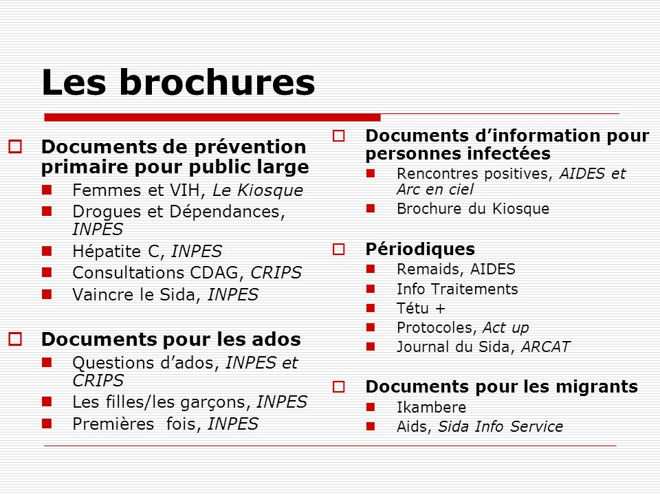 Les brochures Documents de prévention primaire pour public large