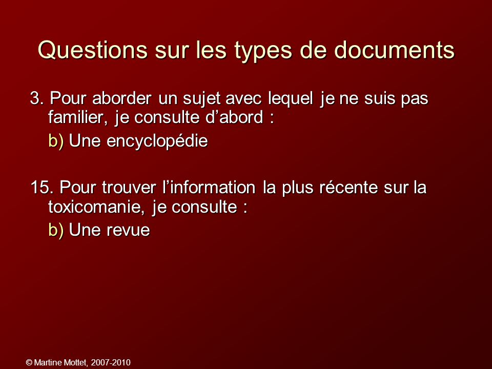 Questions sur les types de documents