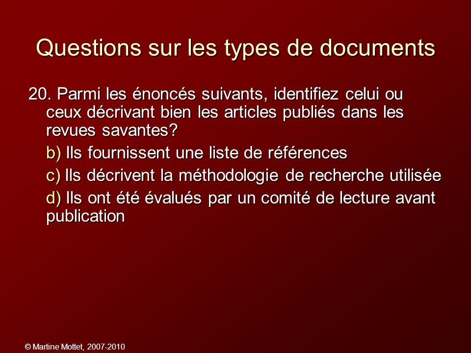 Questions sur les types de documents
