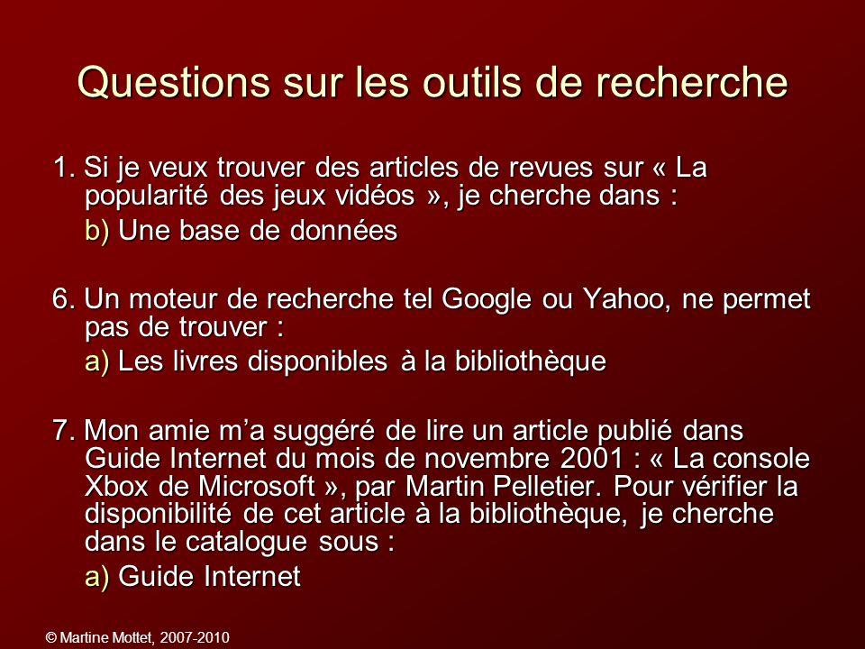 Questions sur les outils de recherche