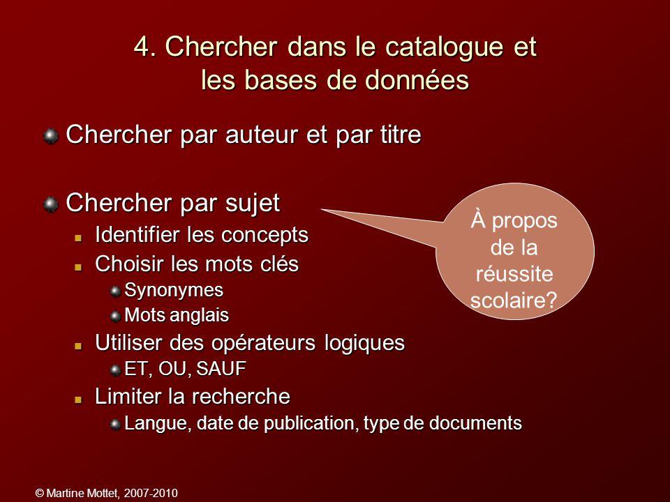 4. Chercher dans le catalogue et les bases de données