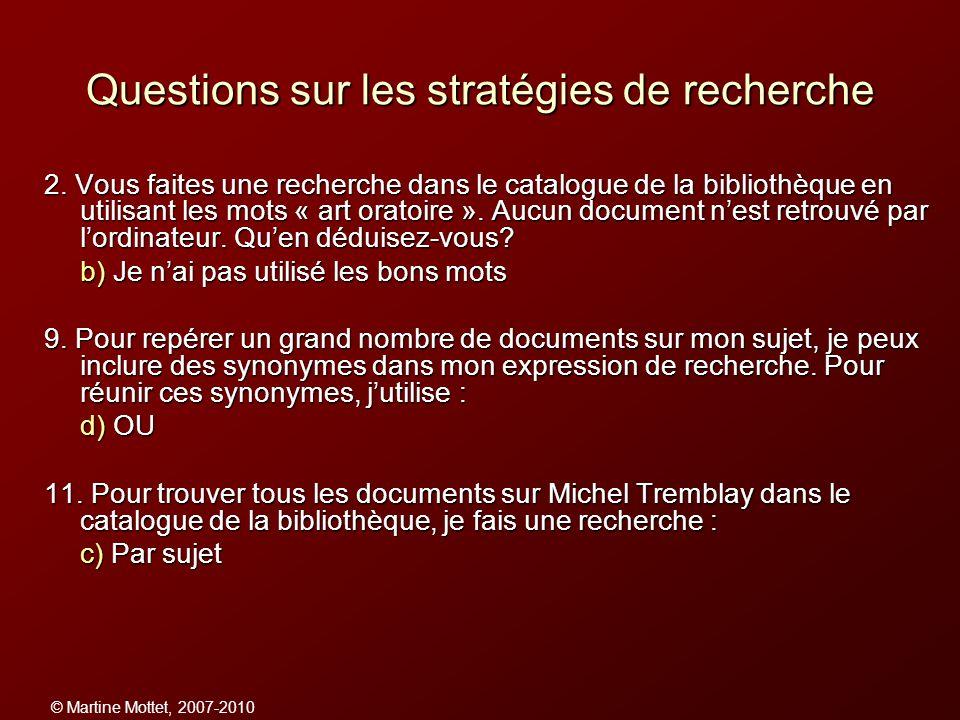 Questions sur les stratégies de recherche