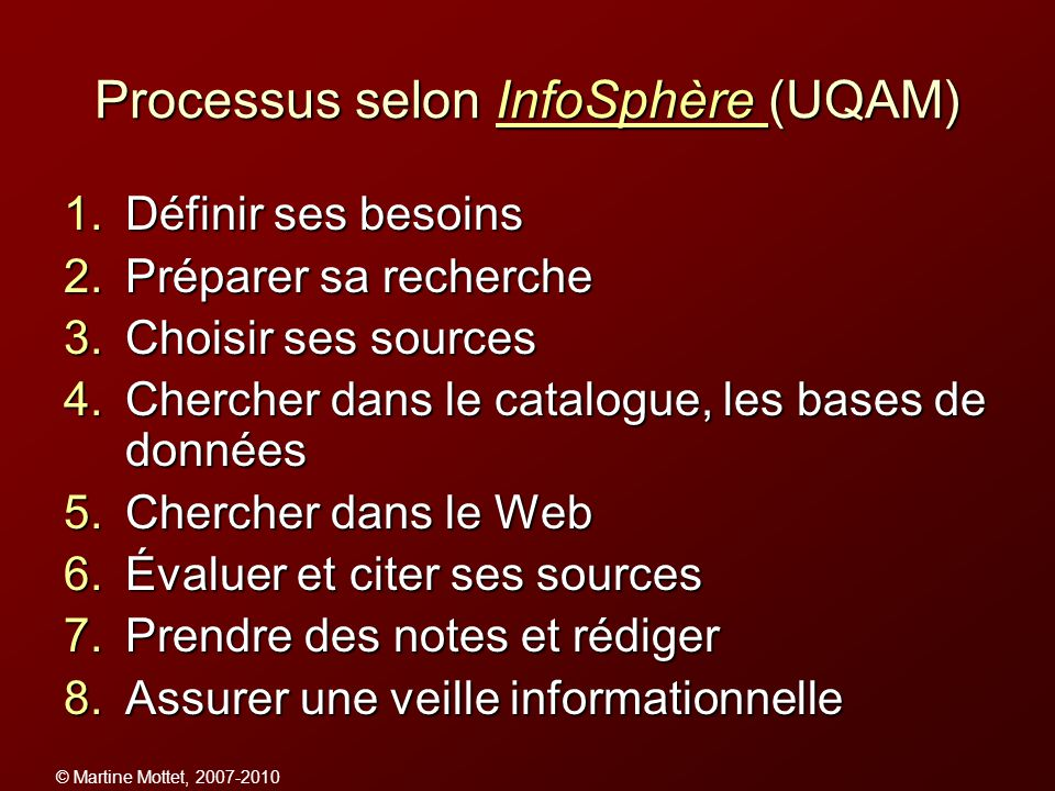 Processus selon InfoSphère (UQAM)