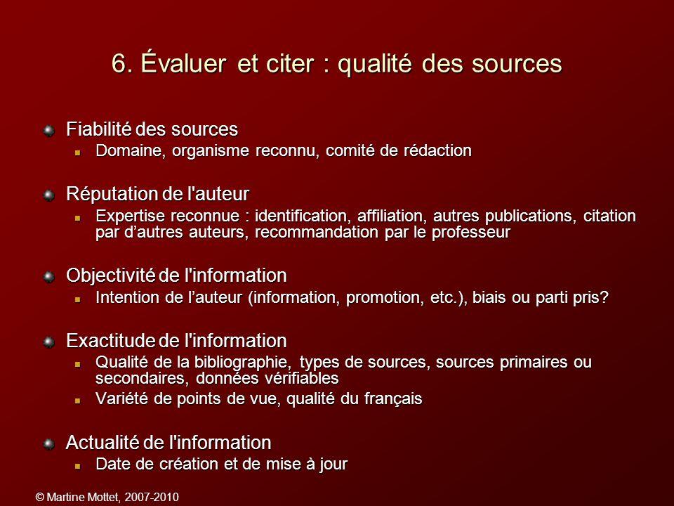 6. Évaluer et citer : qualité des sources