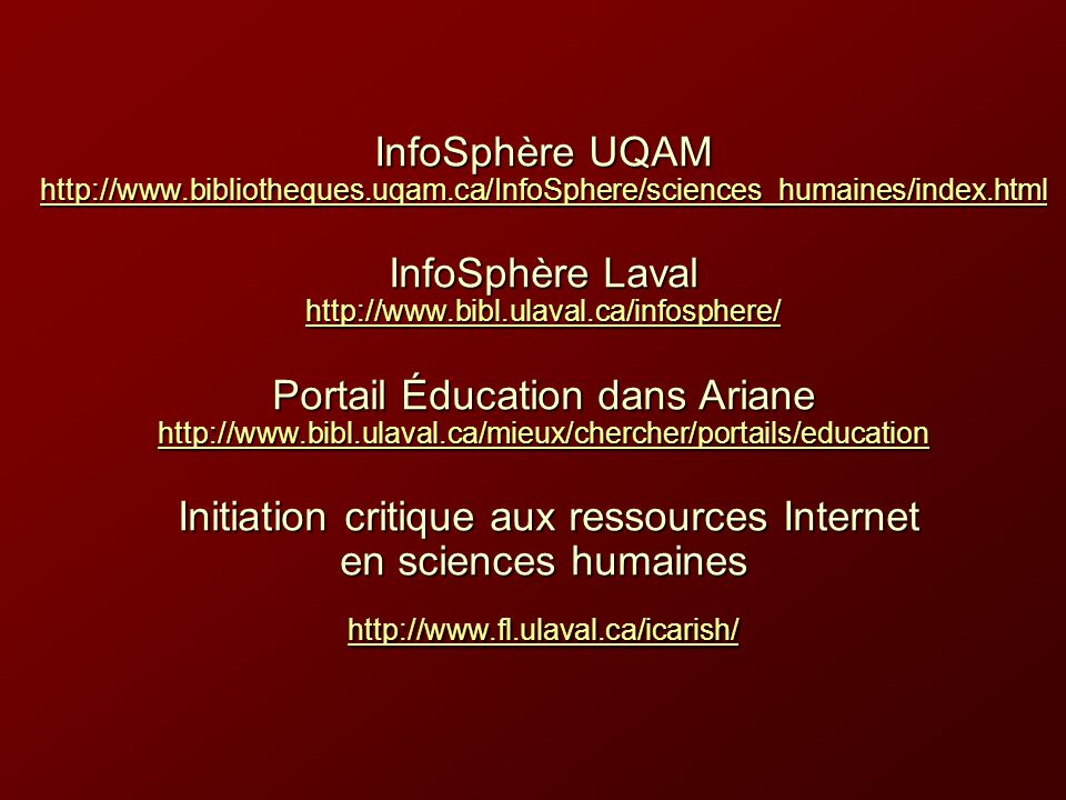 InfoSphère UQAM http://www. bibliotheques. uqam
