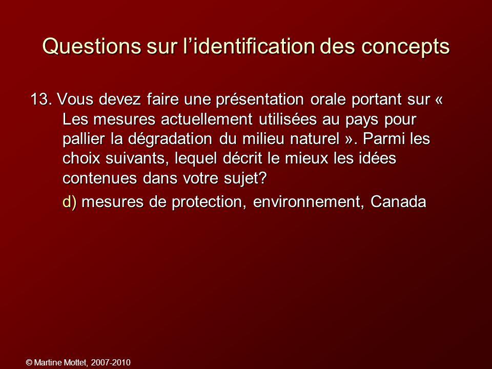 Questions sur l'identification des concepts