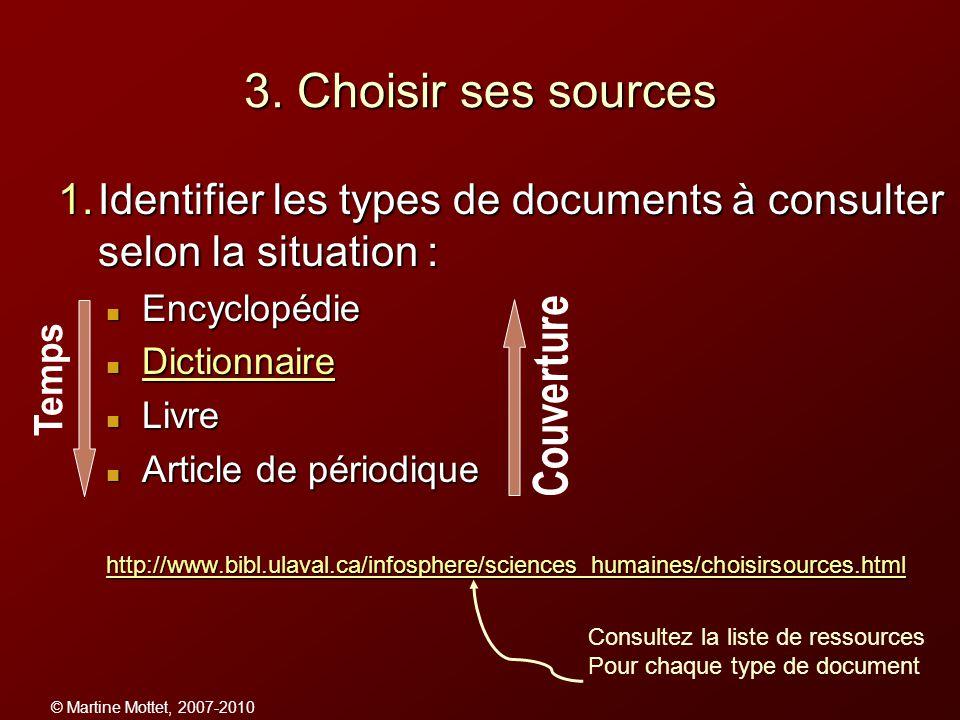 3. Choisir ses sources Identifier les types de documents à consulter selon la situation : Encyclopédie.