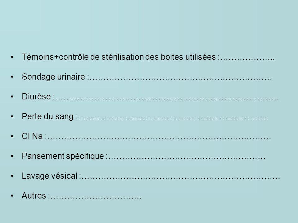 Témoins+contrôle de stérilisation des boites utilisées :………………..