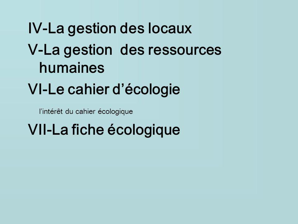 IV-La gestion des locaux V-La gestion des ressources humaines