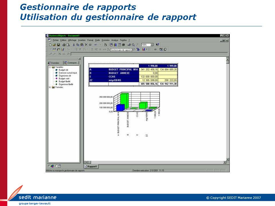 Gestionnaire de rapports Utilisation du gestionnaire de rapport