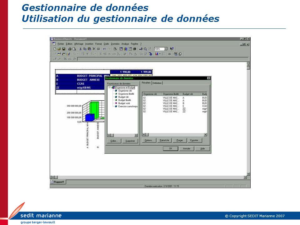 Gestionnaire de données Utilisation du gestionnaire de données