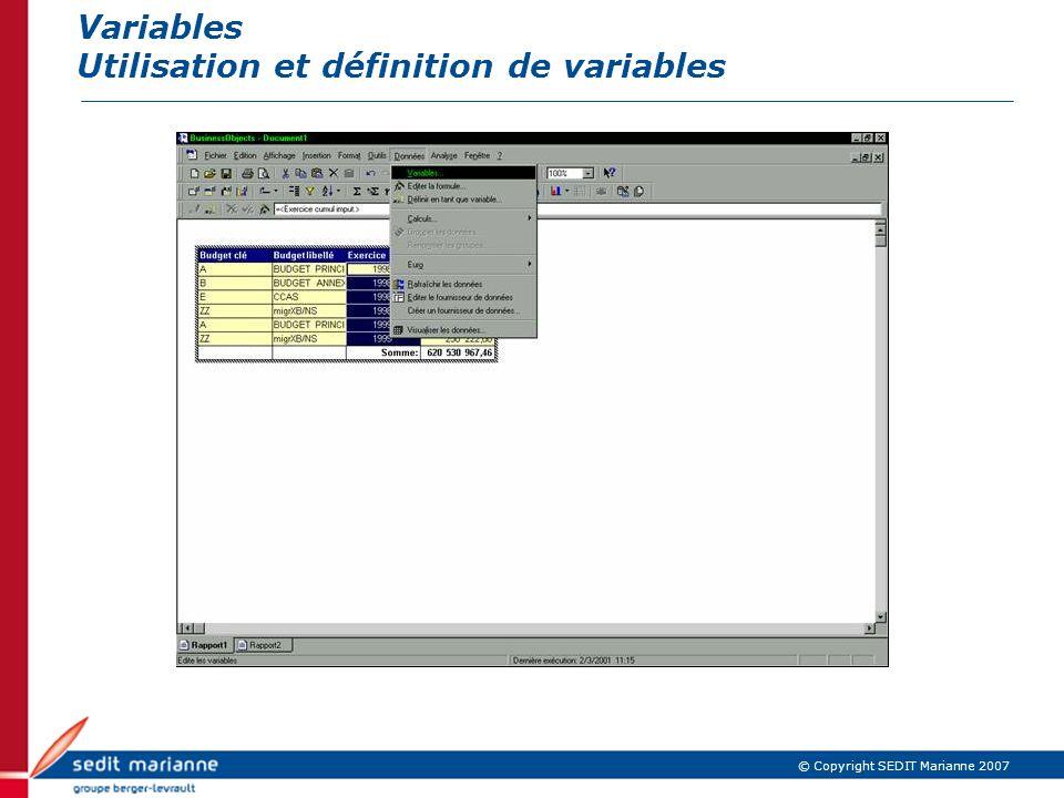 Variables Utilisation et définition de variables