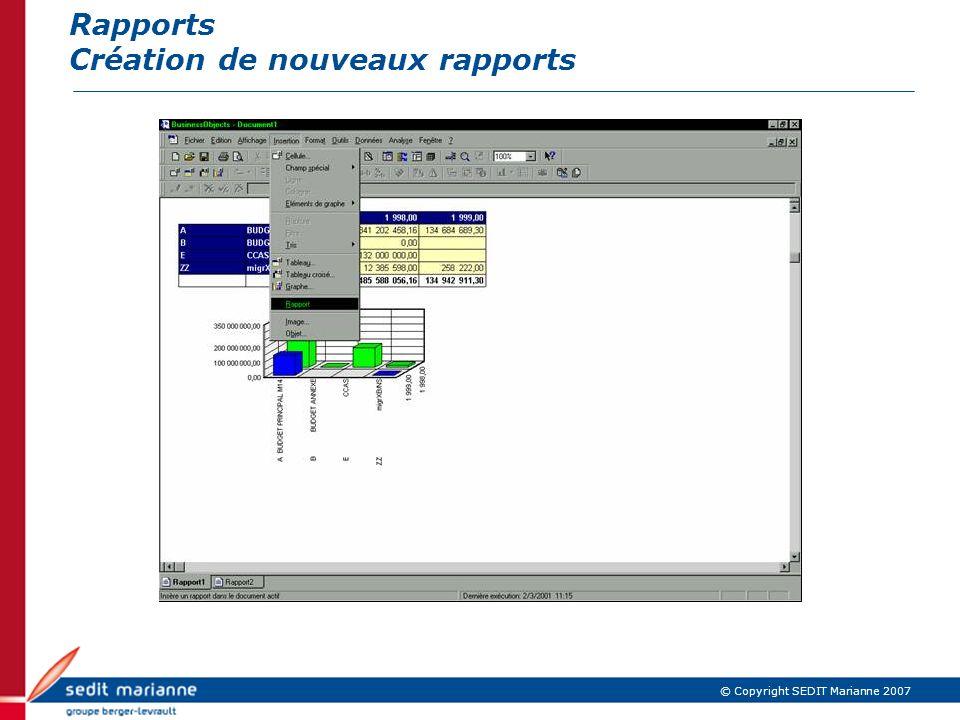 Rapports Création de nouveaux rapports