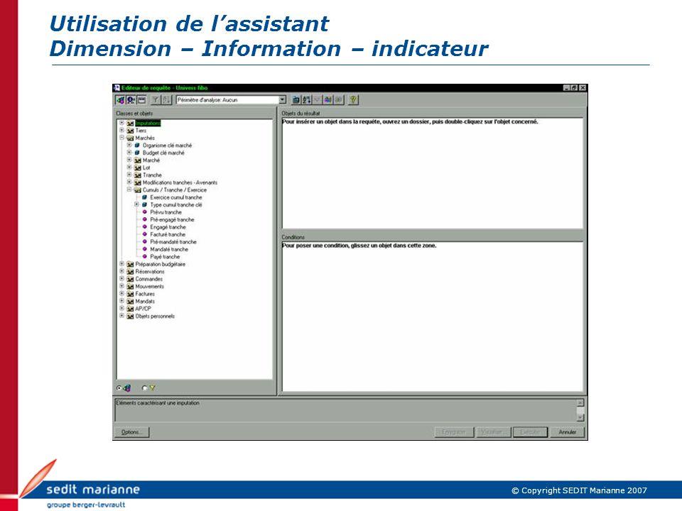 Utilisation de l'assistant Dimension – Information – indicateur