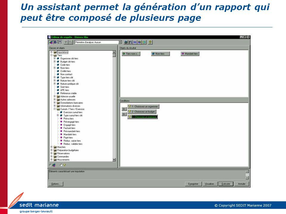 Un assistant permet la génération d'un rapport qui peut être composé de plusieurs page