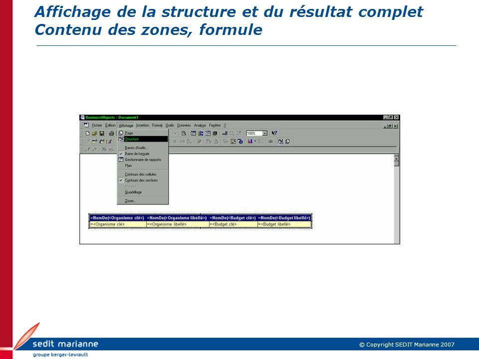 Affichage de la structure et du résultat complet Contenu des zones, formule