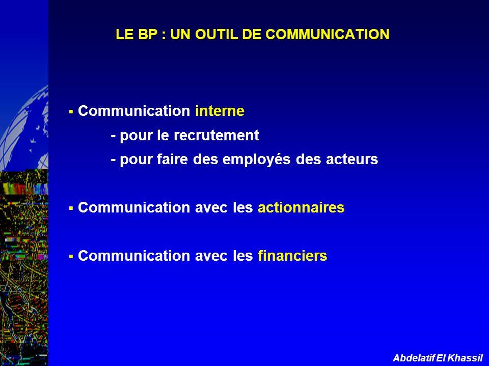 LE BP : UN OUTIL DE COMMUNICATION
