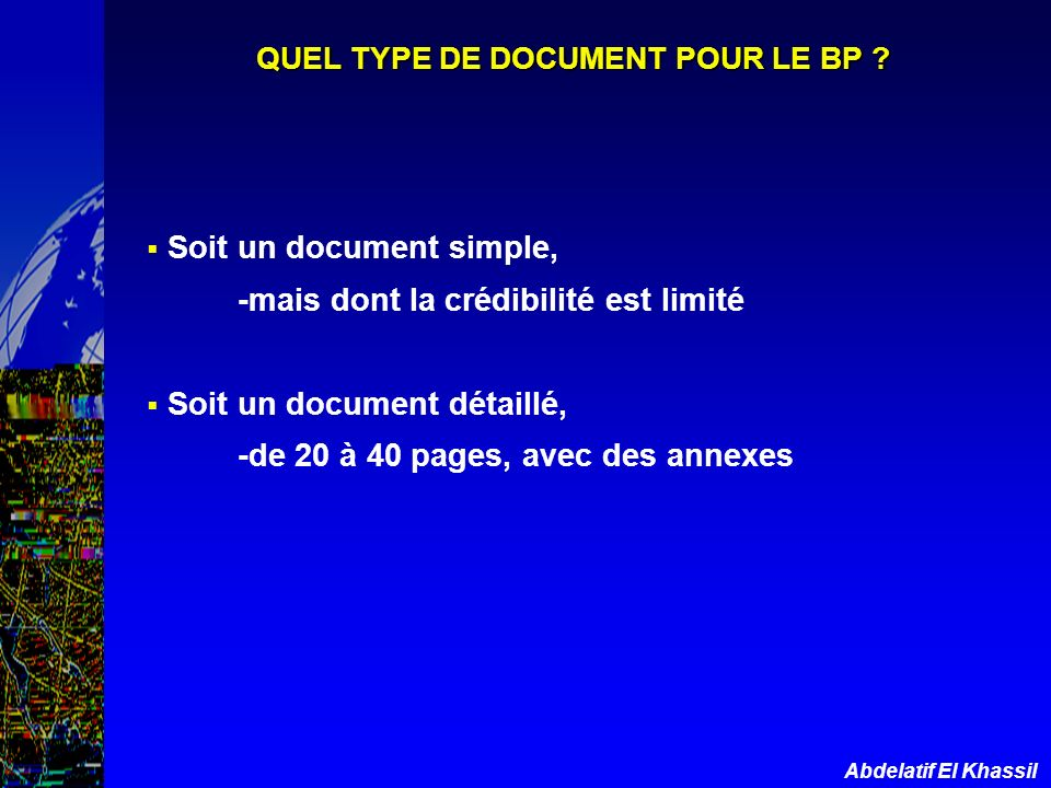 QUEL TYPE DE DOCUMENT POUR LE BP
