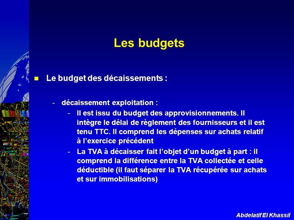 Les budgets Le budget des décaissements : décaissement exploitation :