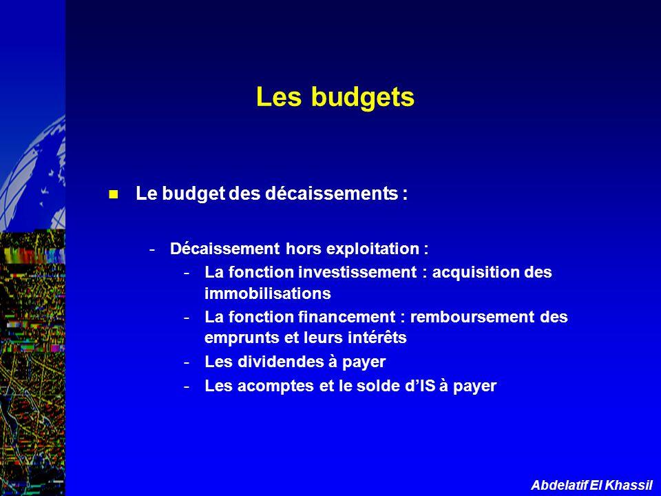 Les budgets Le budget des décaissements :
