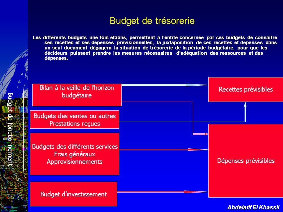 Budget de trésorerie Recettes prévisibles