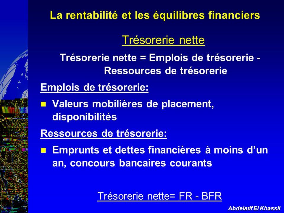 Trésorerie nette La rentabilité et les équilibres financiers