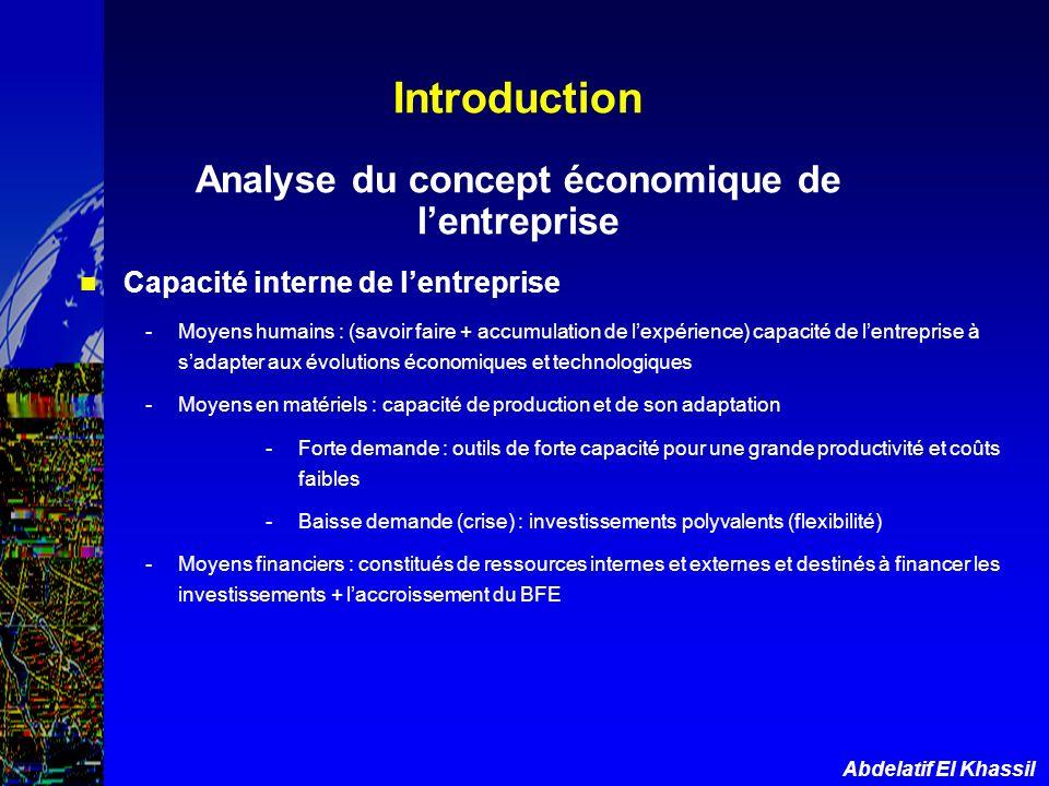 Introduction Analyse du concept économique de l'entreprise